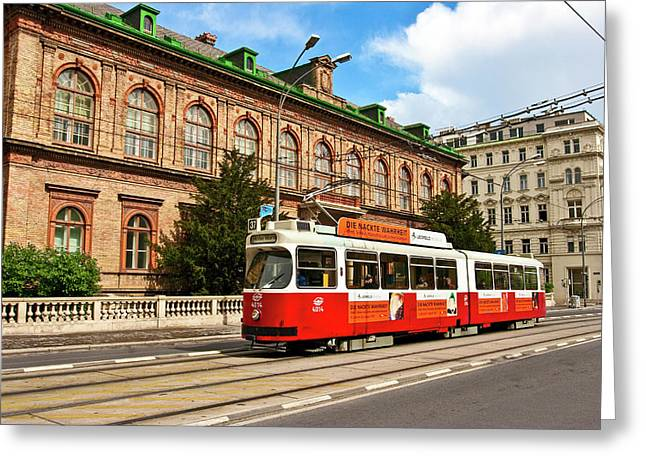 Cable Car Moving Down The Ringstrasse Greeting Card by Miva Stock