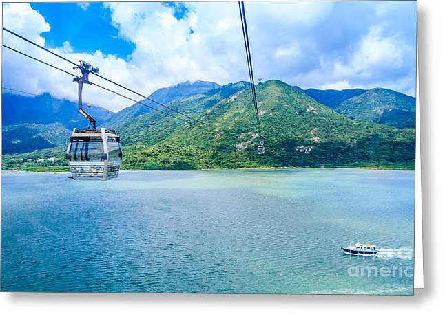 Nature Scene Greeting Cards - Cable Car Greeting Card by Niphon Chanthana