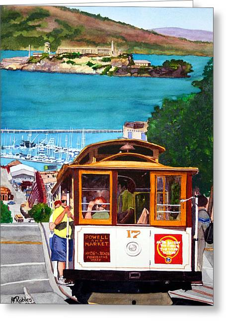 Recently Sold -  - Alcatraz Greeting Cards - Cable Car No. 17 Greeting Card by Mike Robles