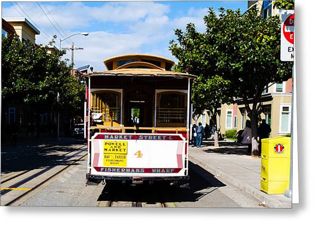 Medium Group Of People Greeting Cards - Cable Car On A Track On The Street, San Greeting Card by Panoramic Images