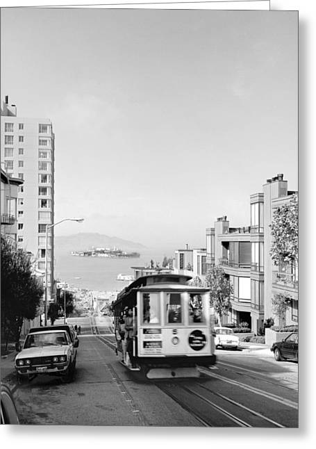 Cable Car On Hyde Street Hill Greeting Card by Underwood Archives