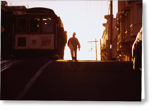 Person Greeting Cards - Cable Car On The Tracks At Sunset, San Greeting Card by Panoramic Images