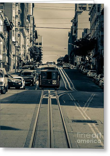 Cable Pyrography Greeting Cards - Cable Car Greeting Card by Sandrine Vialacres