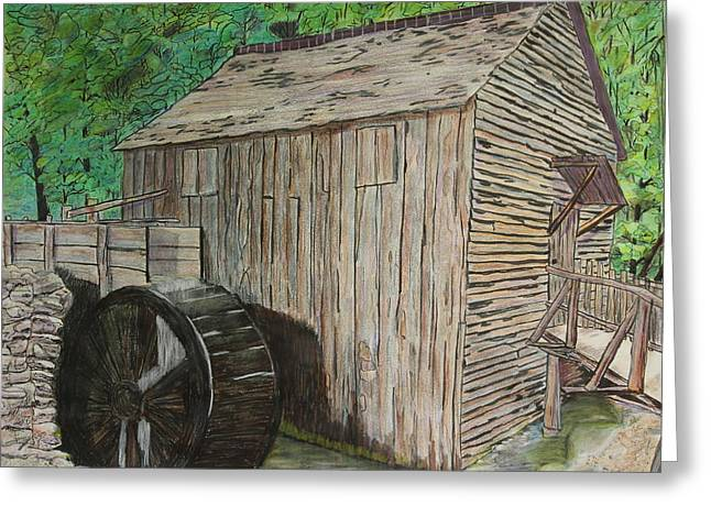 Mountain Cabin Drawings Greeting Cards - Cable Mill in Cades Cove Greeting Card by David Cardwell