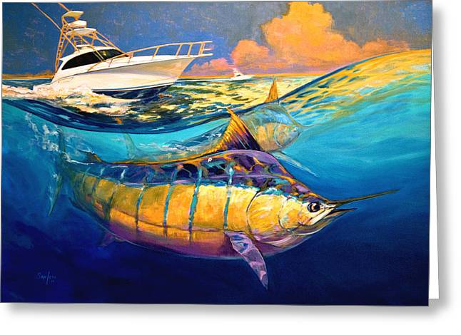 Billfish Greeting Cards - Cabo Forty Four Contemporary Marlin and Cabo Yacht Art Greeting Card by Mike Savlen