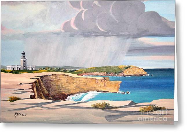 Cabo Rojo Lighthouse Puerto Rico  Greeting Card by Matty Dreadlocks