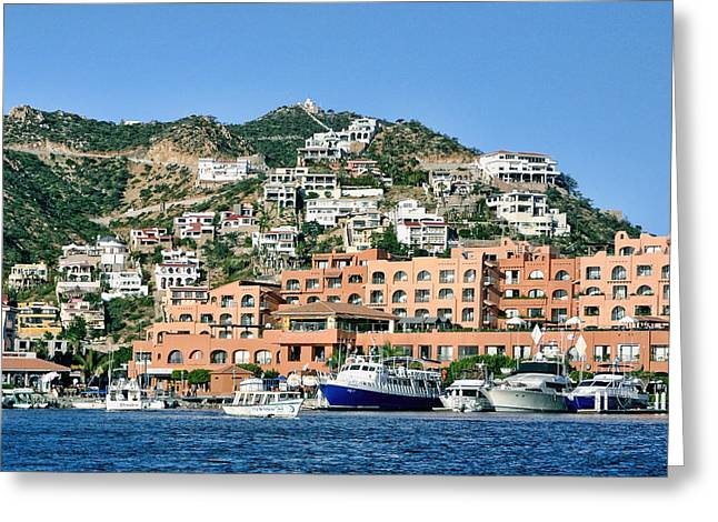 Nountains Greeting Cards - Cabo San Luca Coast Dwellings Greeting Card by Linda Phelps
