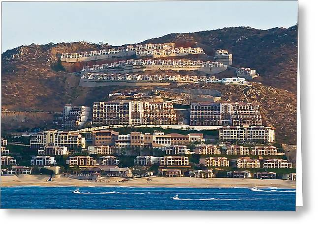 Diving In California Greeting Cards - Cabo San Lucas Hillside Homes Greeting Card by Ginger Wakem