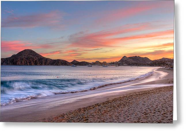 Sea Of Cortez Greeting Cards - Cabo Sunset Greeting Card by Mark Goodman
