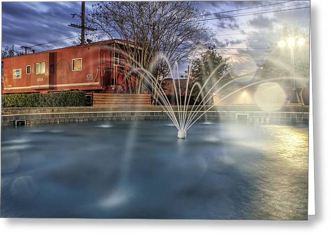 Conway Arkansas Greeting Cards - Caboose and Fountain at Dusk Greeting Card by Jason Politte