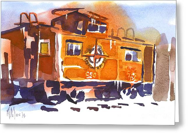 Caboose Greeting Cards - Caboose in Snow and Ice Greeting Card by Kip DeVore