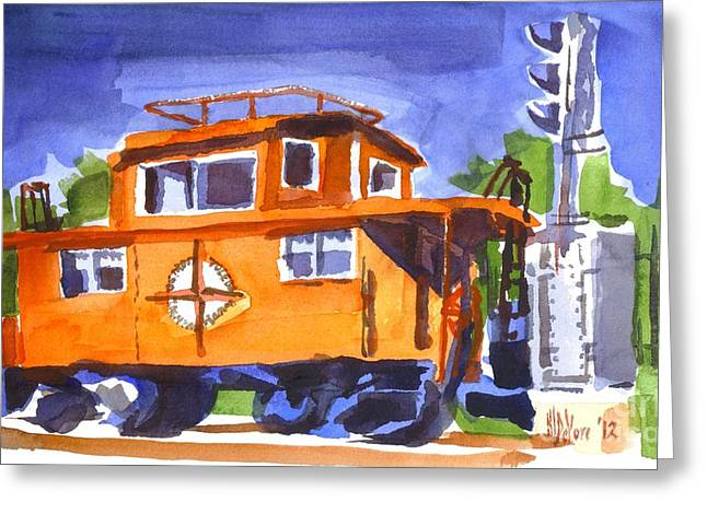Caboose Greeting Cards - Caboose with Silver Signal Greeting Card by Kip DeVore