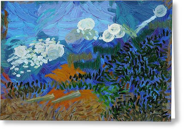 Van Gogh Style Greeting Cards - Cabot Trail Along the Cape Breton Coast Greeting Card by Mario Carini