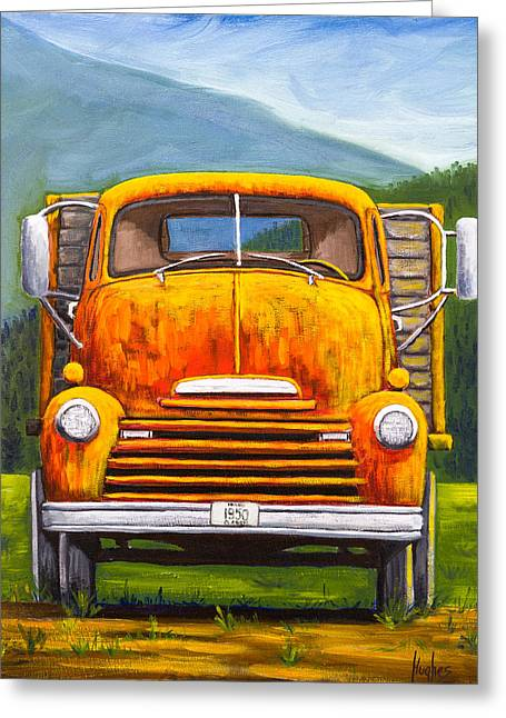 Classic Pickup Paintings Greeting Cards - Cabover Truck Greeting Card by Kevin Hughes