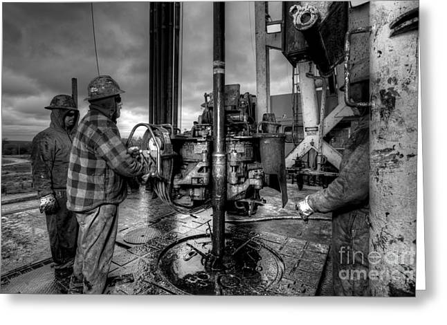 Drilling Greeting Cards - Cac001bw-36 Greeting Card by Cooper Ross