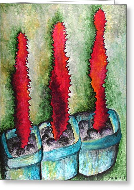Recently Sold -  - Nature Abstracts Greeting Cards - Cactus Abstract #1 Greeting Card by Michelle Boudreaux
