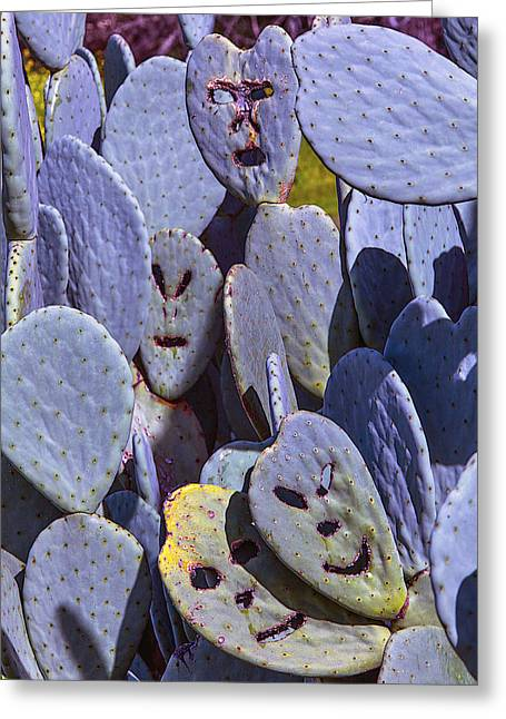 Hidden Face Greeting Cards - Cactus Faces Greeting Card by Garry Gay