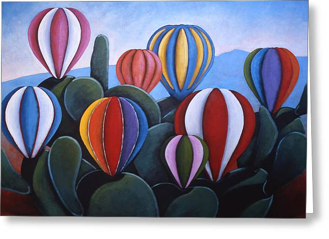 Hot Air Balloons Greeting Cards - Cactus Fiesta Greeting Card by Gayle Faucette Wisbon
