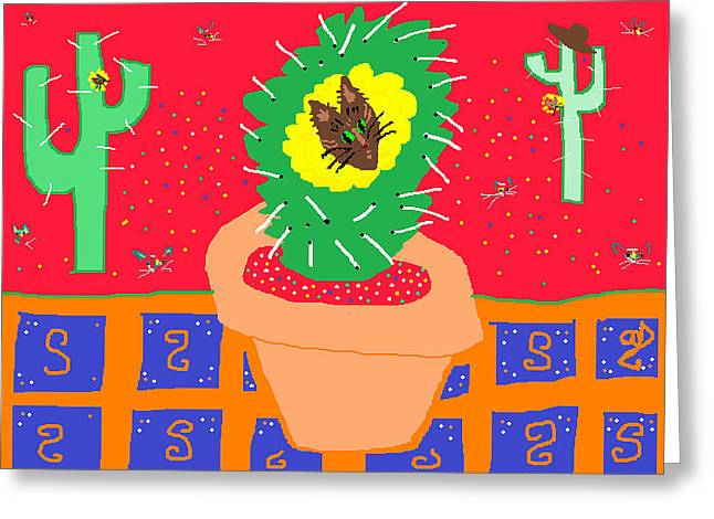 Potted Plants Drawings Greeting Cards - Cactus Flower Greeting Card by Anita Dale Livaditis