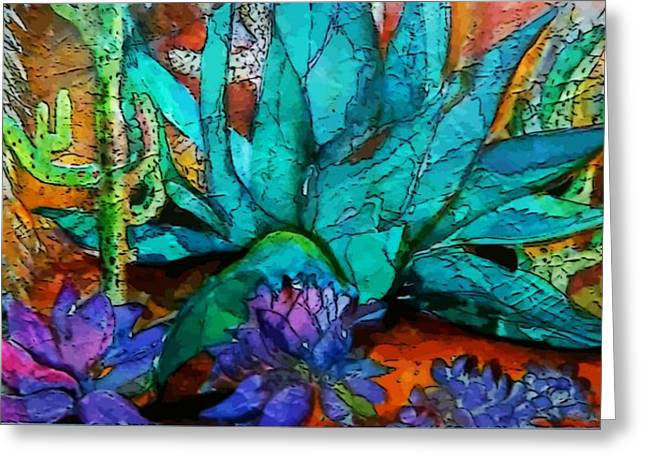 Pear Mixed Media Greeting Cards - Cactus Garden Greeting Card by Mindy Newman