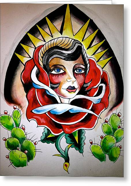 Tattoo Flash Drawings Greeting Cards - Cactus Girl Flash Greeting Card by Britt Kuechenmeister