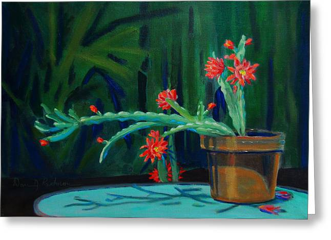 Flower Still Life Sculptures Greeting Cards - Cactus in Bloom 1 Greeting Card by Dan Redmon