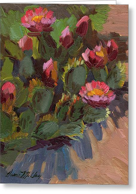 Barbara Paintings Greeting Cards - Cactus in Bloom 2 Greeting Card by Diane McClary