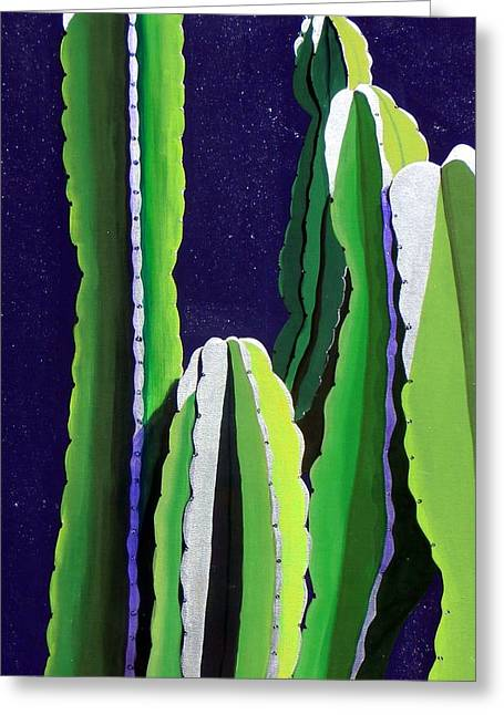 Western Southwest Greeting Cards - Cactus in the Desert Moonlight Greeting Card by Karyn Robinson