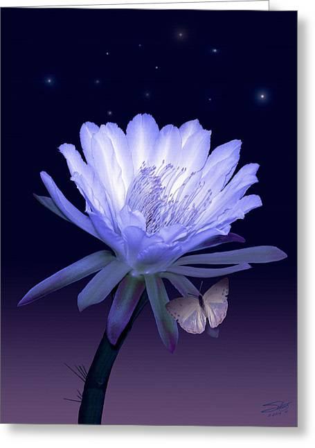 Cactus Flowers Digital Greeting Cards - Cactus Night Flower Greeting Card by Schwartz