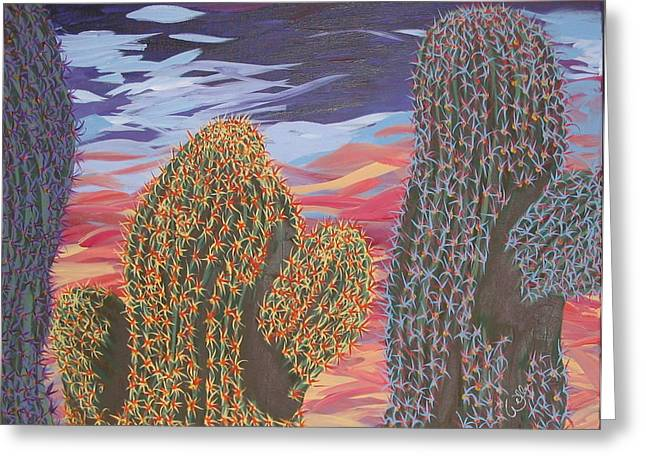 Marcia Weller-wenbert Greeting Cards - Cactus of Color 1 Greeting Card by Marcia Weller