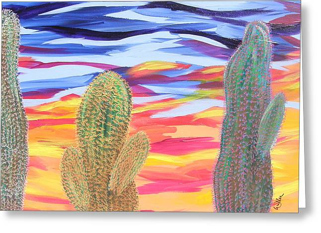 Marcia Weller-wenbert Greeting Cards - Cactus of Color 21 Greeting Card by Marcia Weller-Wenbert