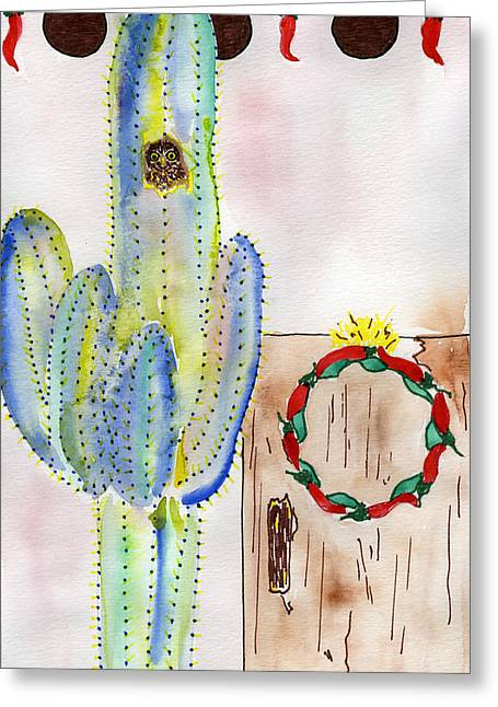 Entrance Door Mixed Media Greeting Cards - Cactus Owl Wreath Greeting Card by Christy Woodland