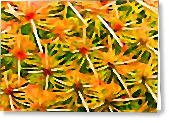 Red Abstract Greeting Cards - Cactus Pattern 2 Yellow Greeting Card by Amy Vangsgard