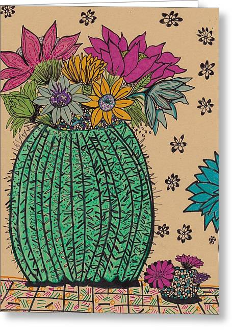 Cactus  Greeting Card by Rosalina Bojadschijew