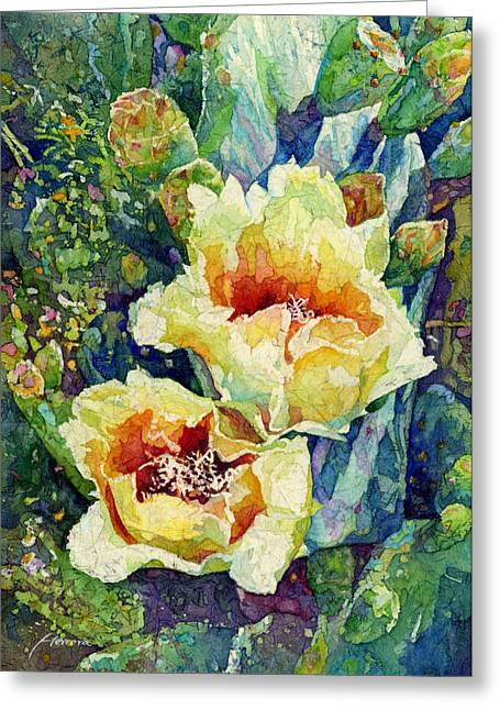 Cactus Flowers Greeting Cards - Cactus Splendor I Greeting Card by Hailey E Herrera
