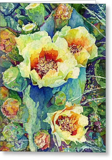 Cactus Flowers Greeting Cards - Cactus Splendor II Greeting Card by Hailey E Herrera