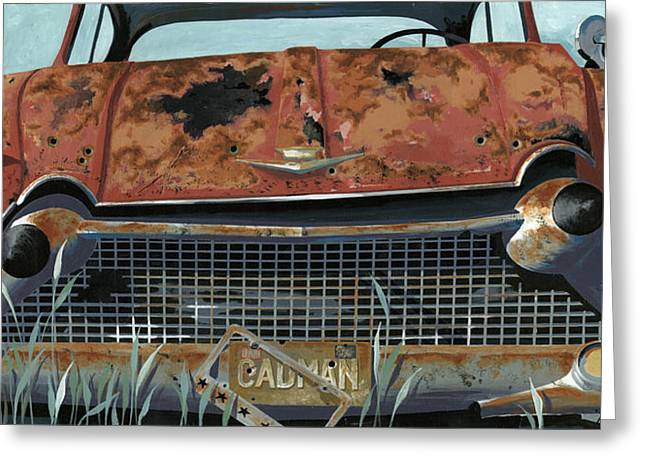 Junk Yard Greeting Cards - Cad Man Greeting Card by John Wyckoff
