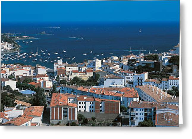 Tile Roof Greeting Cards - Cadaques Costa Brava Spain Greeting Card by Panoramic Images