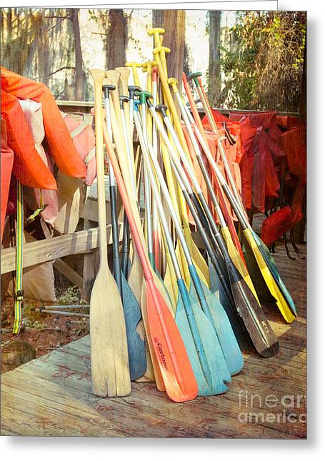 Canoe Photographs Greeting Cards - Caddo Paddles Greeting Card by Sonja Quintero