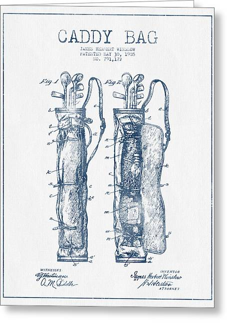 Caddy Greeting Cards - Caddy Bag Patent Drawing From 1905 - Blue Ink Greeting Card by Aged Pixel