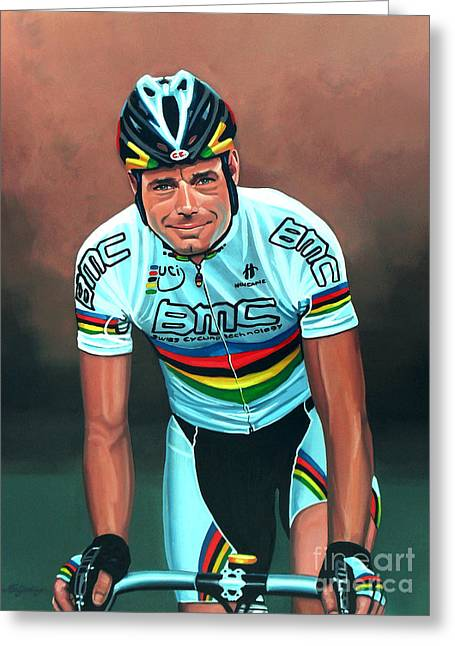 Mountain Road Greeting Cards - Cadel Evans Greeting Card by Paul Meijering