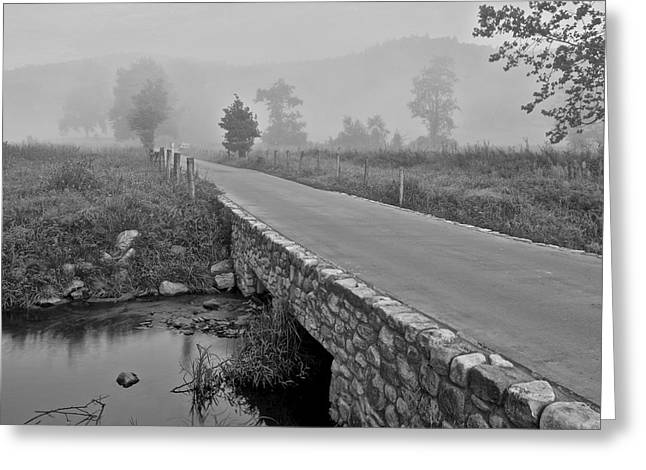 Old Roadway Greeting Cards - Cades Cove Black and White Greeting Card by Frozen in Time Fine Art Photography