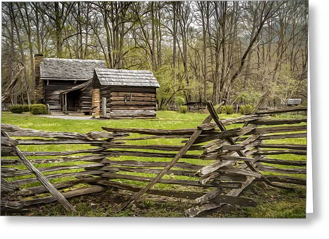 Cades Cove Cabin Greeting Card by Eduard Moldoveanu