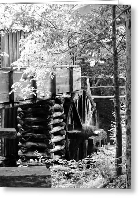Tennessee Historic Site Photographs Greeting Cards - Cades Cove Cable Mill Water Wheel - BW Greeting Card by Cynthia Woods