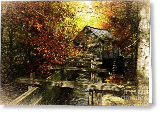 Grist Mill Greeting Cards - Cades Cove Colors Greeting Card by Mel Steinhauer