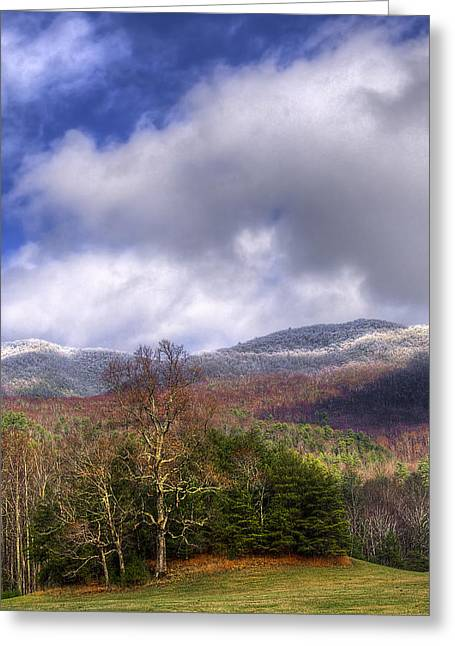 Winter Scenes Rural Scenes Greeting Cards - Cades Cove First Dusting of Snow II Greeting Card by Debra and Dave Vanderlaan