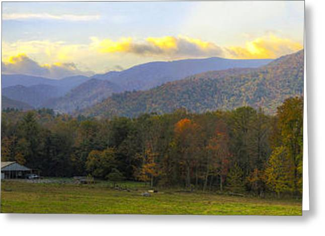 Tennessee Farm Greeting Cards - Cades Cove Horse Farm Panorama at Dawn Greeting Card by Steve Samples