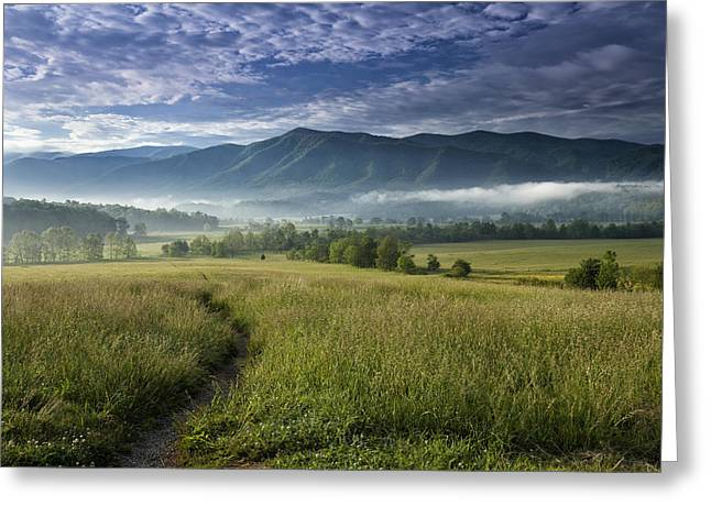 Cloudscapes Greeting Cards - Cades Cove Meadow Greeting Card by Andrew Soundarajan