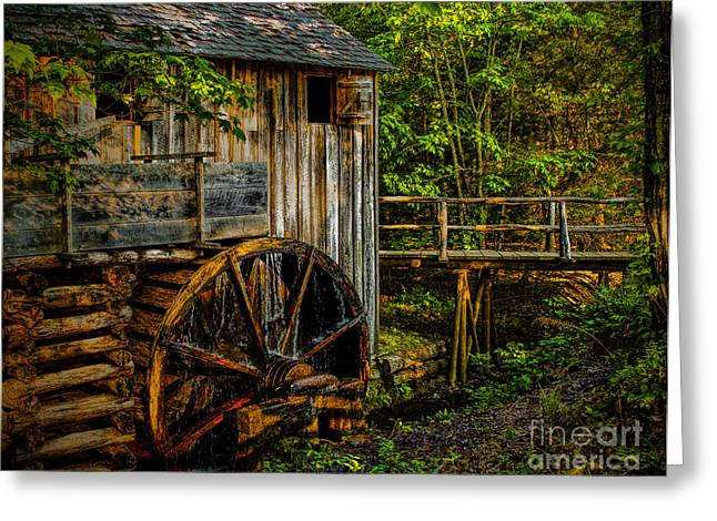 Grist Mill Greeting Cards - Cades Cove Mill Painted Greeting Card by Dave Bosse