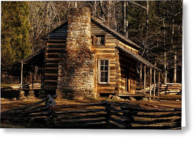 Log Cabins Greeting Cards - Cades Cove Olivers Cabin Greeting Card by Greg and Chrystal Mimbs